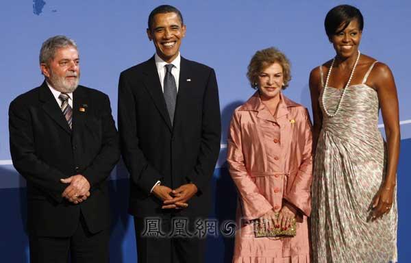西总统卢拉夫妇合影.-奥巴马夫妇与G20各国元首夫妇合照