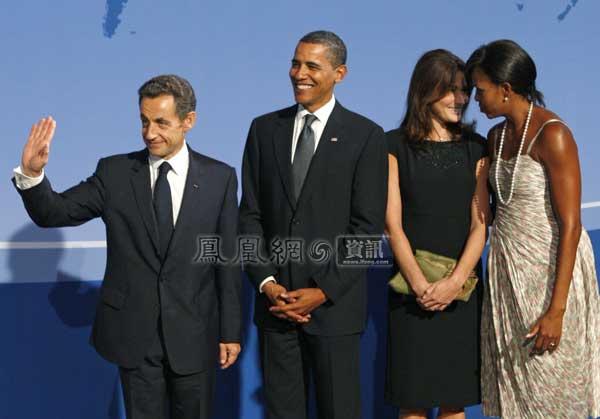 总统萨科齐夫妇合影.-奥巴马夫妇与G20各国元首夫妇合照