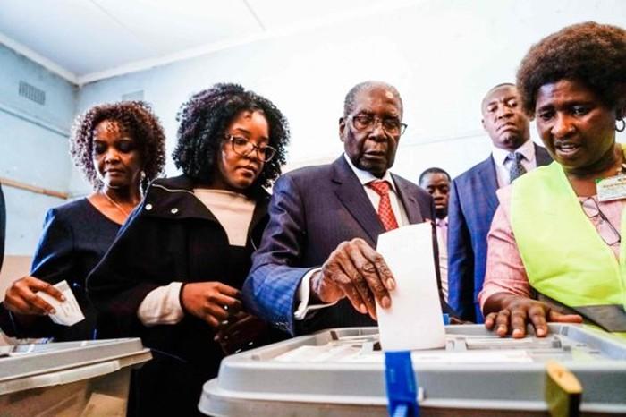津巴布韦前总统穆加贝(中)30日在哈拉雷一个投票站参加大选投票(图片