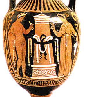 古希腊瓶画上的沐浴场面.图片