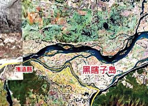 中俄黑瞎子岛卫星位置图.