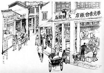 古代交易场景手绘