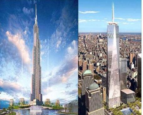 纽约自由塔,目前正在911遗址上兴建中(右)
