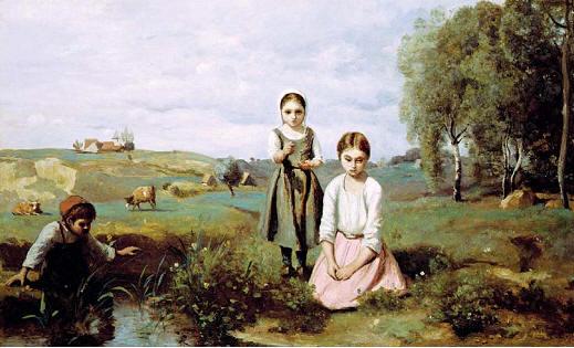 是柯罗早期结合风景与人物的画作,描绘了三个小女孩正度过快乐的童年