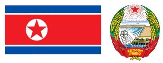 左:朝鲜国旗 右:朝鲜国徽图片