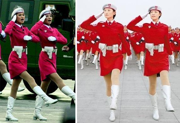 曾是车模的美女民兵领队张晓菲(左)和赵娜.