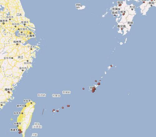 资料图:地图中部即为琉球群岛
