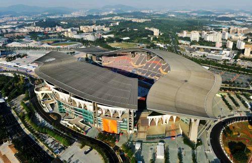 图为航拍的广东奥体中心体育场(摄於10月29日).新华社