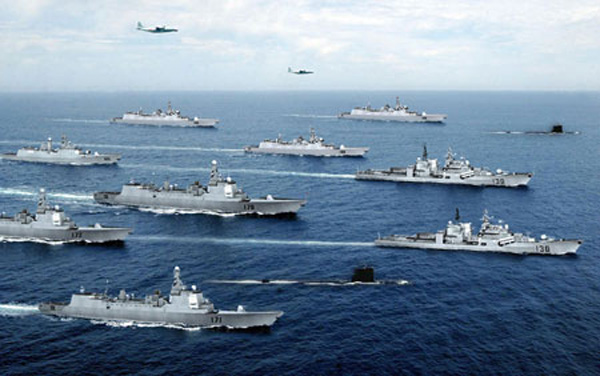 中國評論新聞:南海艦隊舉行登島...