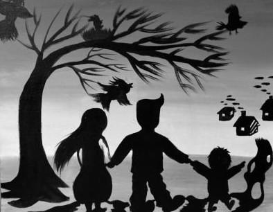 孩子画的一家三口出游的画图片