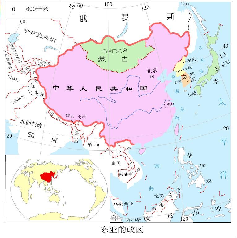东亚半岛地形图