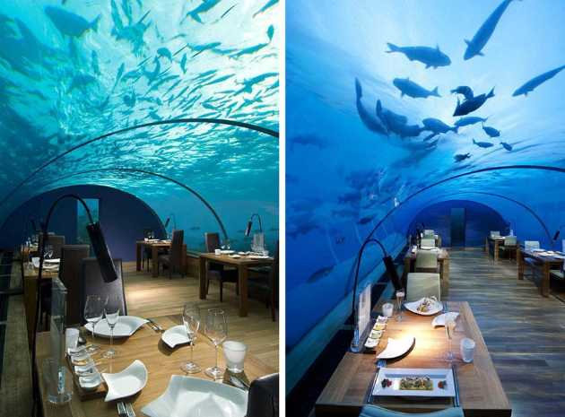 海底餐厅形似水族馆