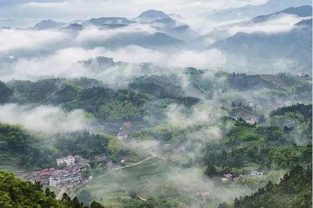 丽水松阳·四都乡西坑村——山水诗画的高山云雾山村,从高处望去,仿佛