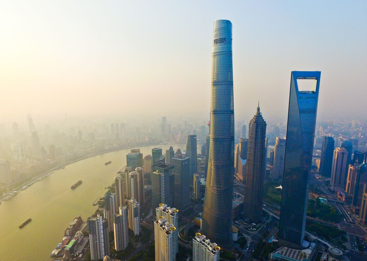航拍陆家嘴金融城地标——上海中心,上海环球金融中心,金茂大厦