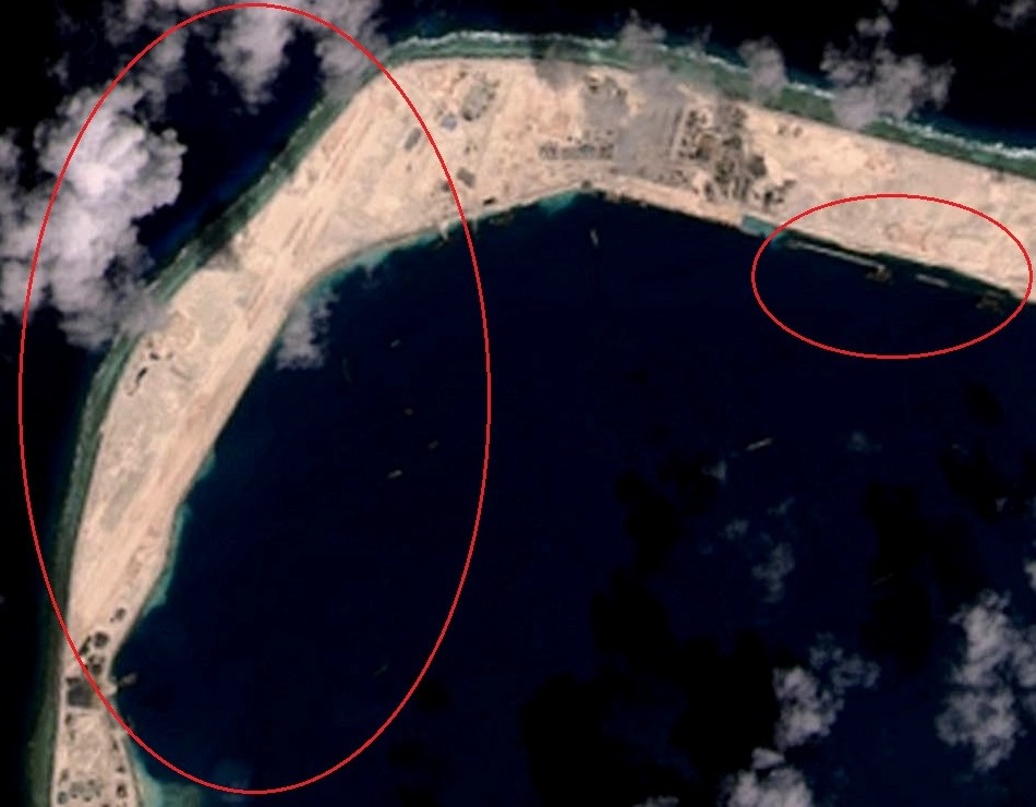 美济岛11月14日卫星图 跑道已有模样