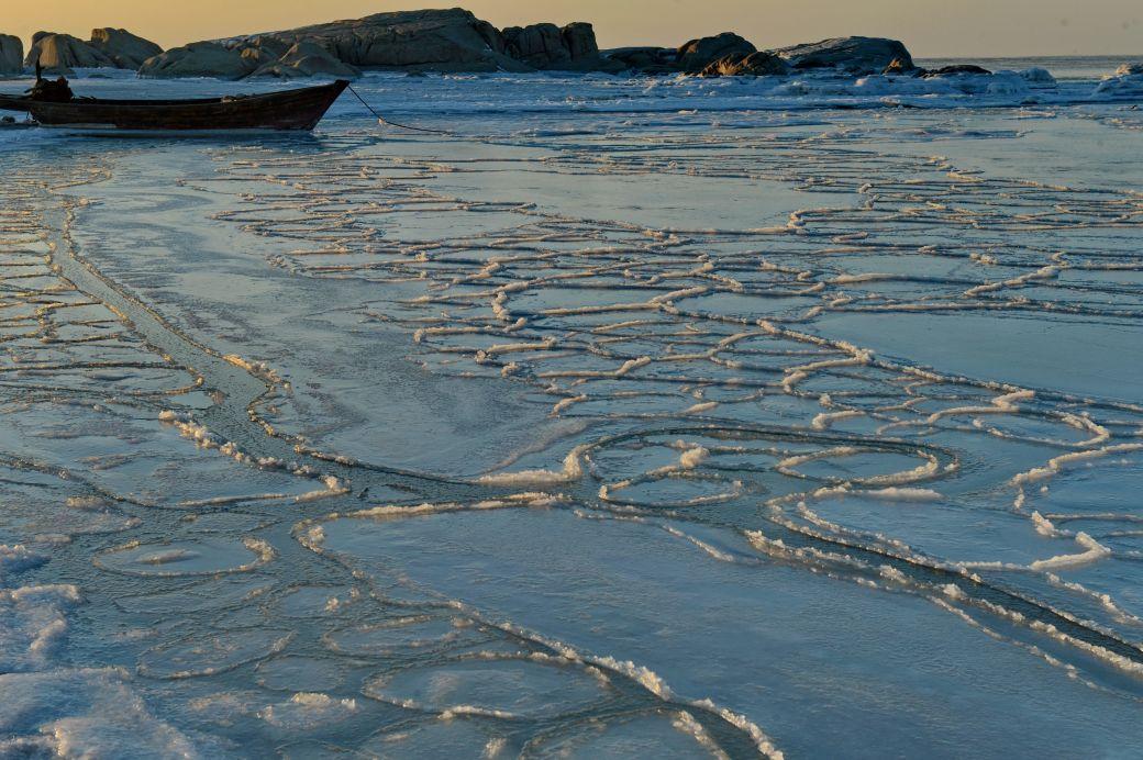 这是秦皇岛海边的海冰景色(1月23日摄).新华社
