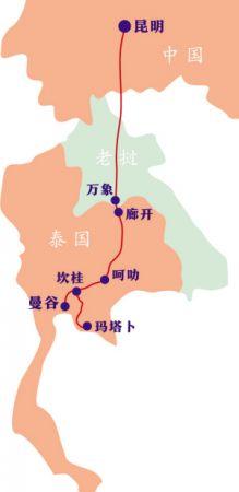 呈人字形的铁路线分为曼谷—坎桂—呵叻段,玛塔卜—罗勇段和呵叻—廊