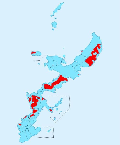 相关资料显示,冲绳现有美军基地41处,占冲绳岛总面积20%左右.