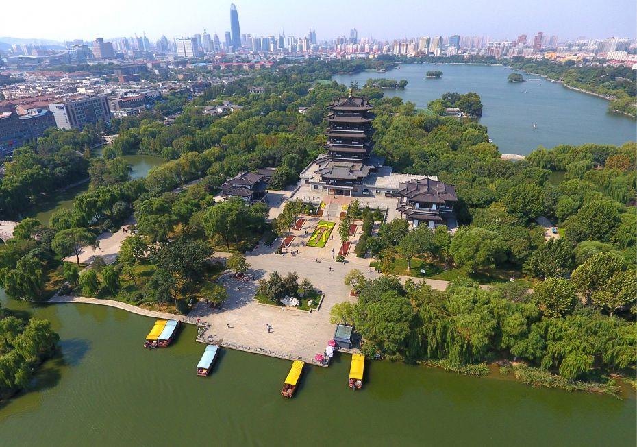 这是9月22日航拍的济南大明湖风景.新华社
