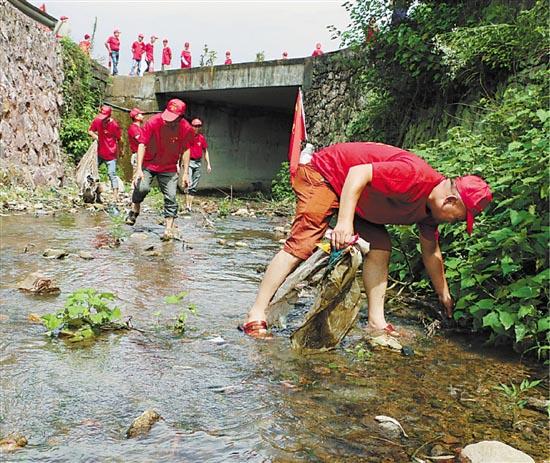 永康市花街镇的党员干部清理河道,积极参加美丽乡村建设.
