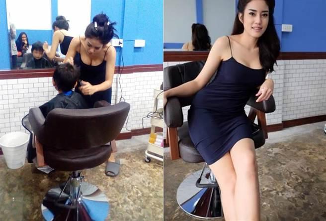 低胸美女服务 泰国理发店刚开幕就爆满