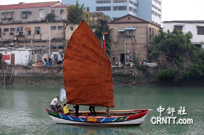 廈門福船24日航渡台灣 重現安平運河帆影
